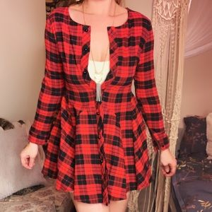 Dresses & Skirts - Red Plaid Dress Tunic Long Sleeved Shirt Dress